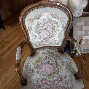 Chateau d'ax Chair Lady and Man Needlepoint